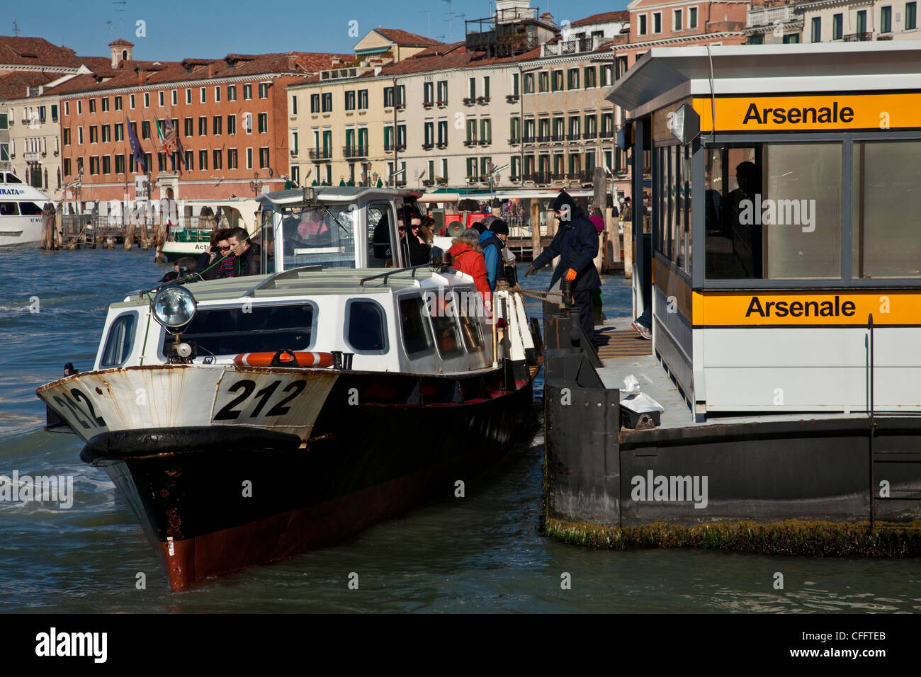 A Vaporetto (Water Bus) on The Lagoon, Venice, Italy - Stock Image
