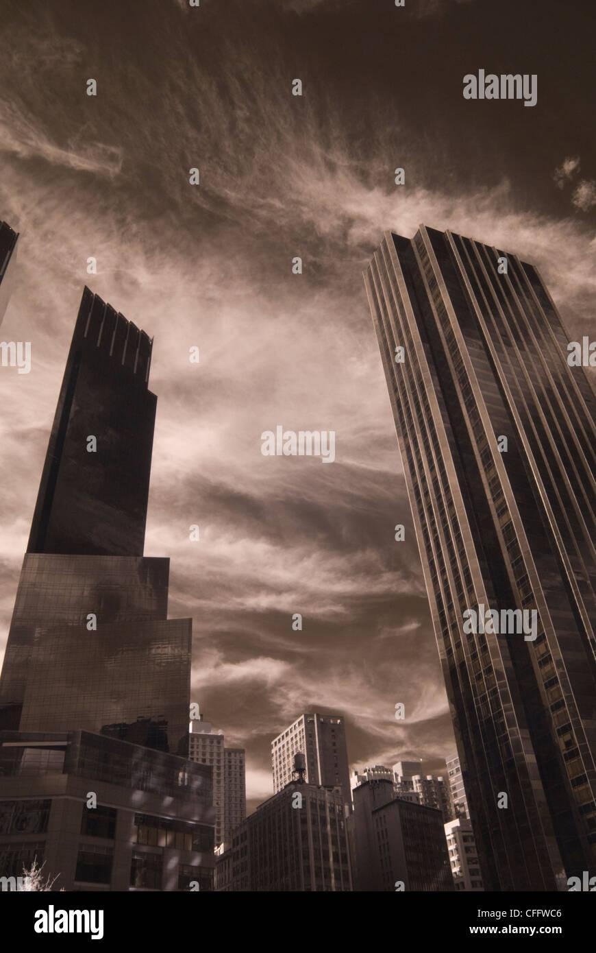 Skyscrapers Against Black Sky - Stock Image
