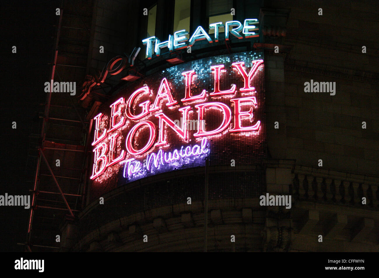 Legally Blonde sign. Savoy Theatre, The Strand, London, United Kingdom, WC2 - Stock Image