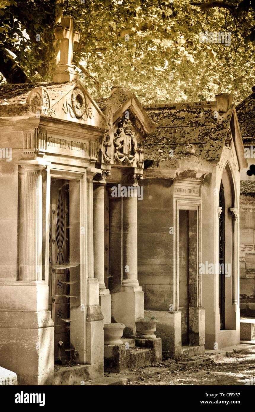 Mausoleum at Père Lachaise Cemetery, Paris, France - Stock Image