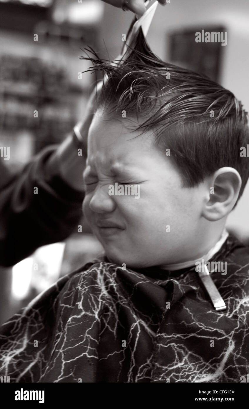 Fv5288 Brian Summers Boy Gettting Hair Cut Bw Stock Photo