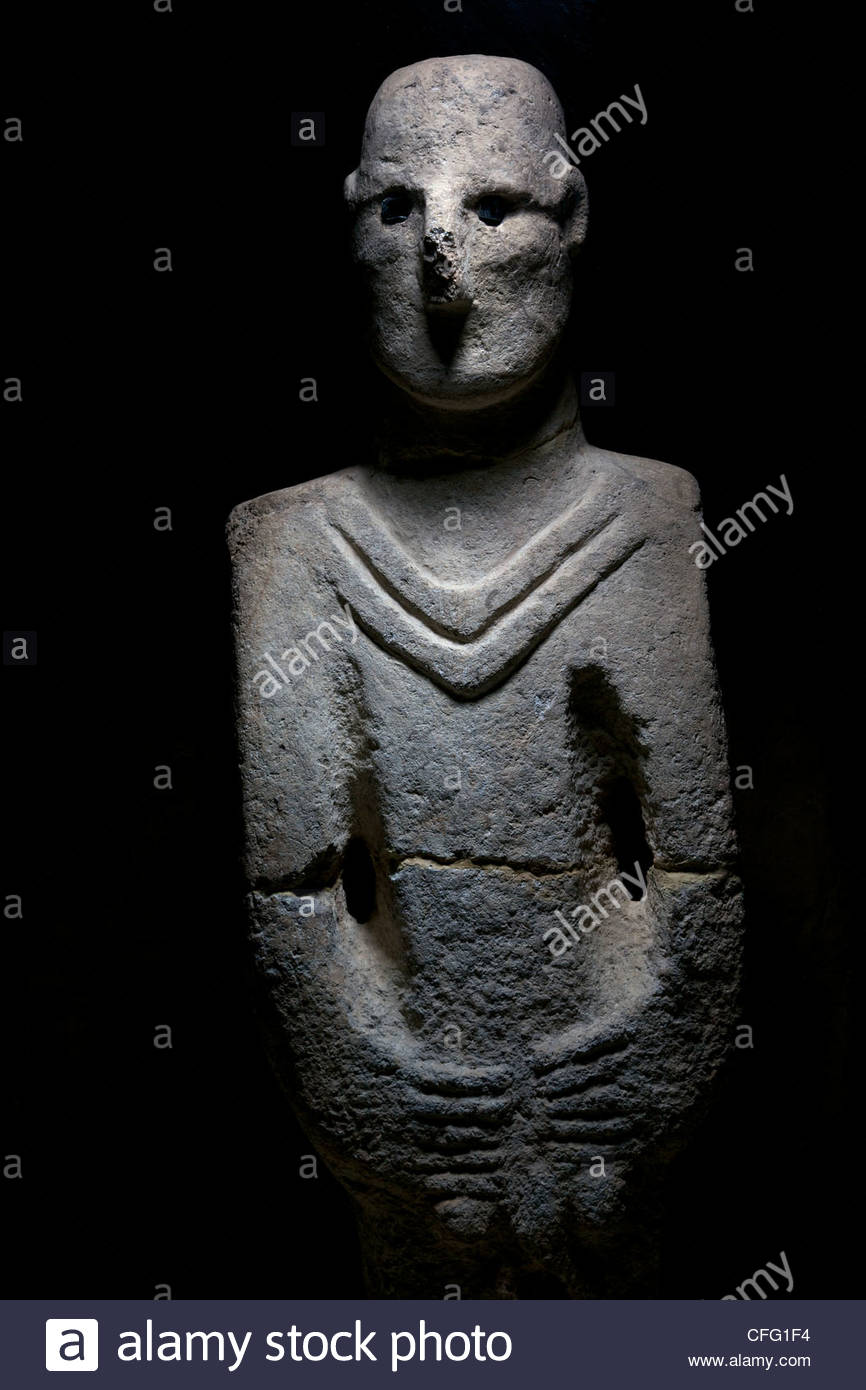 A life-size depiction of a human found nine miles from Gobekli Tepe. - Stock Image