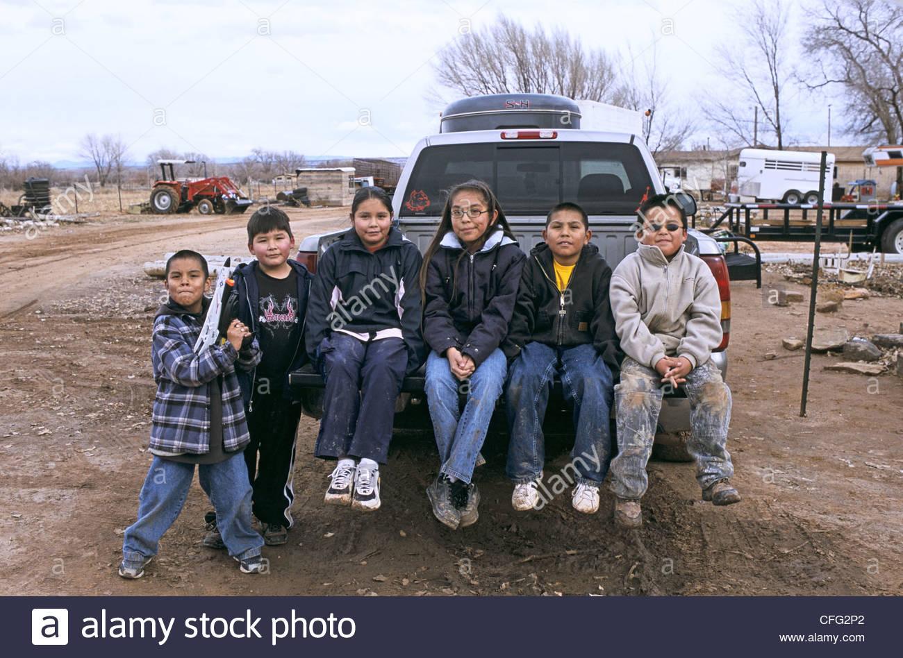 Navajo children at a Navajo indian reservation. - Stock Image