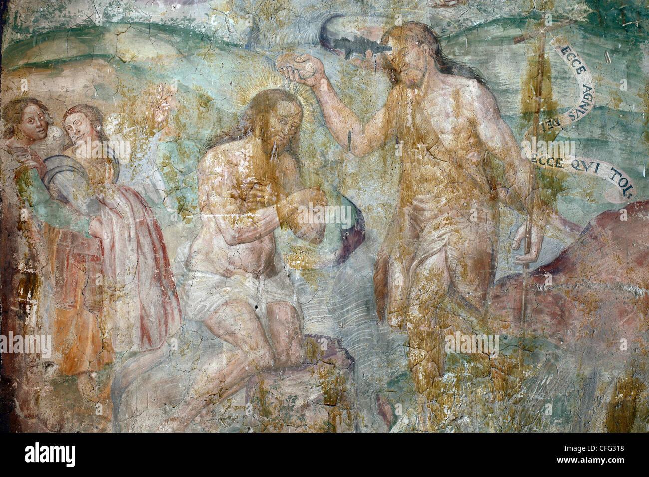 Italy, Apulia, Troia, San Basilio Church, Fresco XI Century - Stock Image