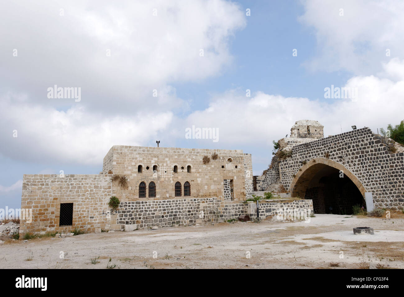 Qalaat Marqab. Syria. View of the great hall on the crusader castles inner courtyard. In the centre is well connected - Stock Image