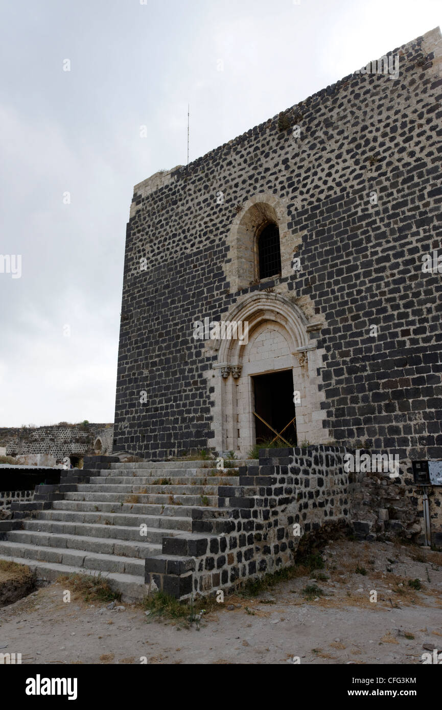 Qalaat Marqab. Syria. View of the stepped west and main entrance to gothic style chapel at the crusader castle. - Stock Image
