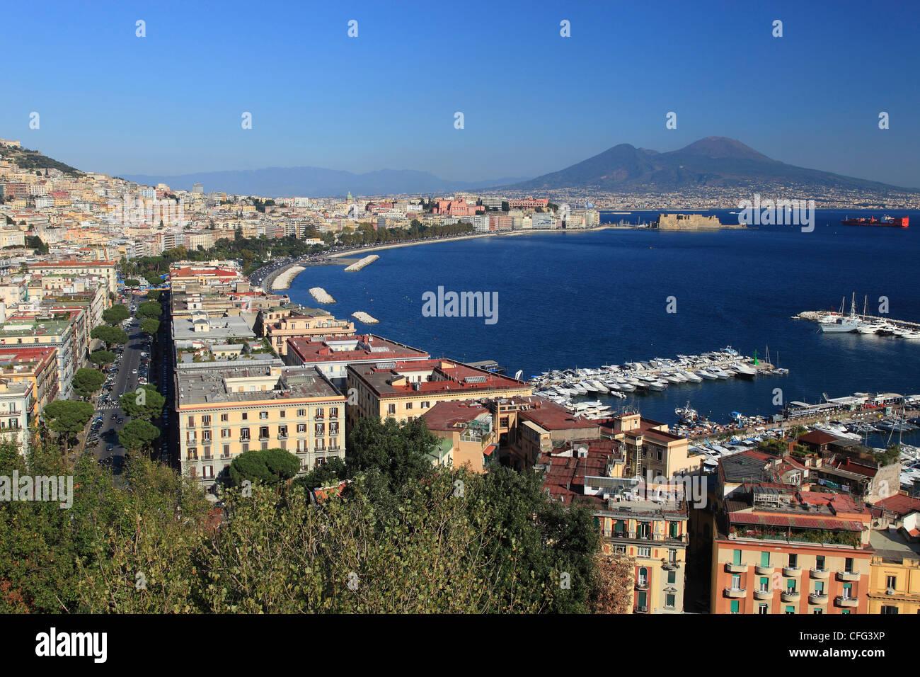 Italy, Campania, Naples, cityscape and Vesuvius volcano - Stock Image