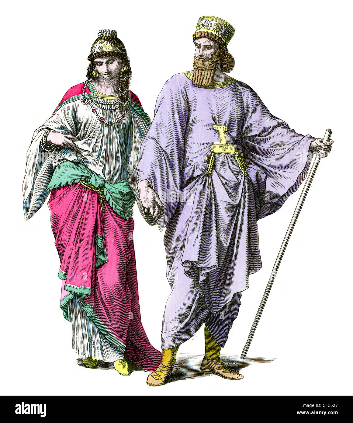 Ancient nobles of Meder or Persia - Stock Image