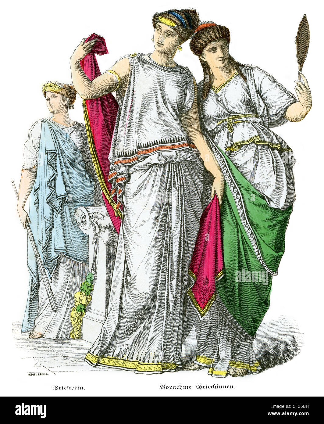 Ancient Greek Priestess and Noble Women - Stock Image
