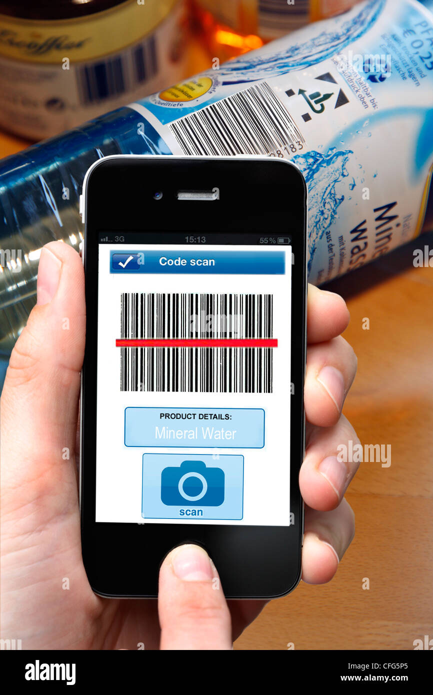 Mobile phone, smart phone, PDA, I phone, with a barcode reader App. To read barcode information on products. - Stock Image