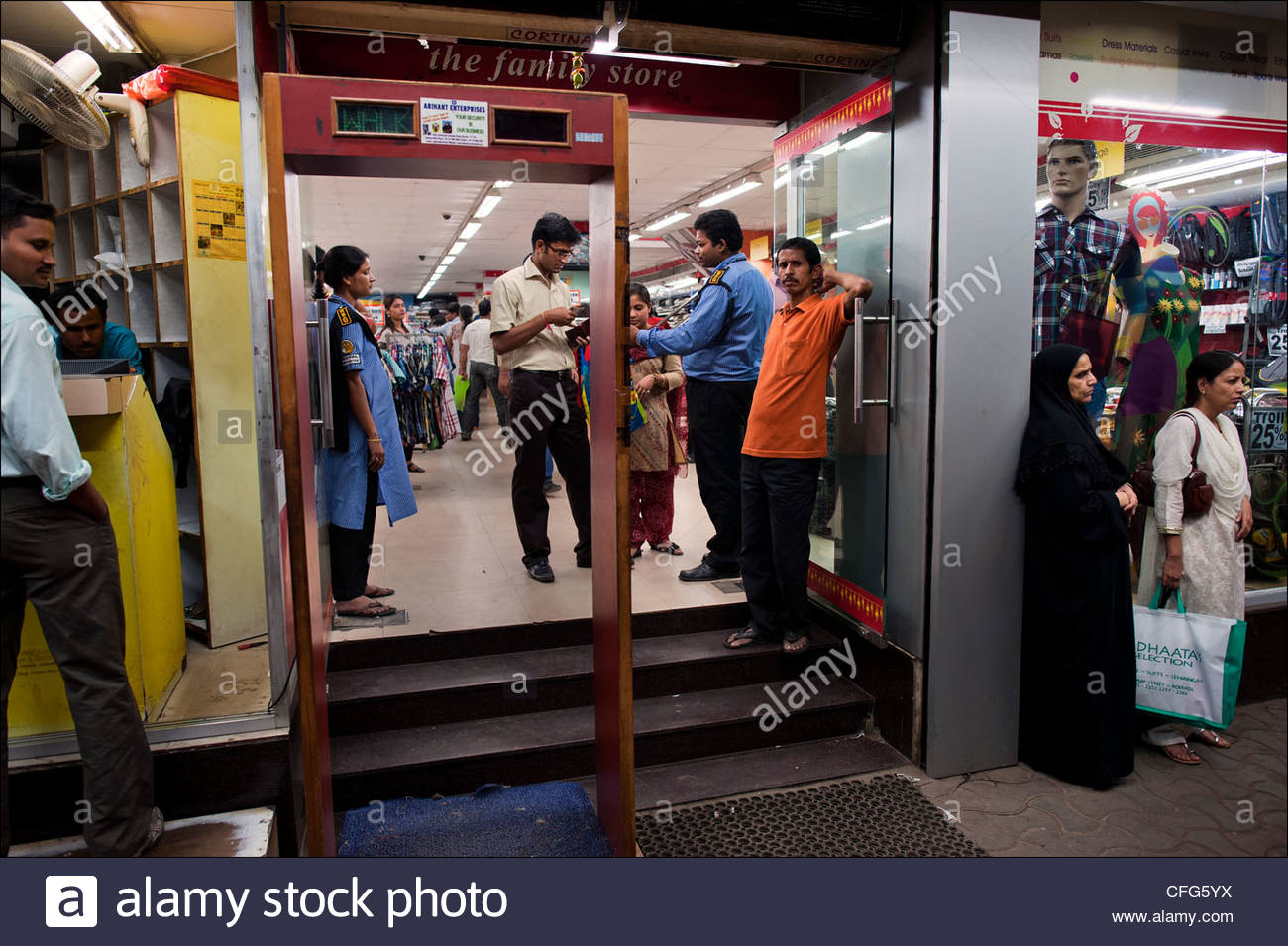Fear of terrorism has lead authorities to install metal detectors in some department stores in New Market. - Stock Image