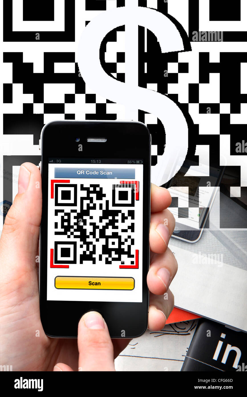 QR-Code reader, Quick Response, the camera of the mobile phone scans