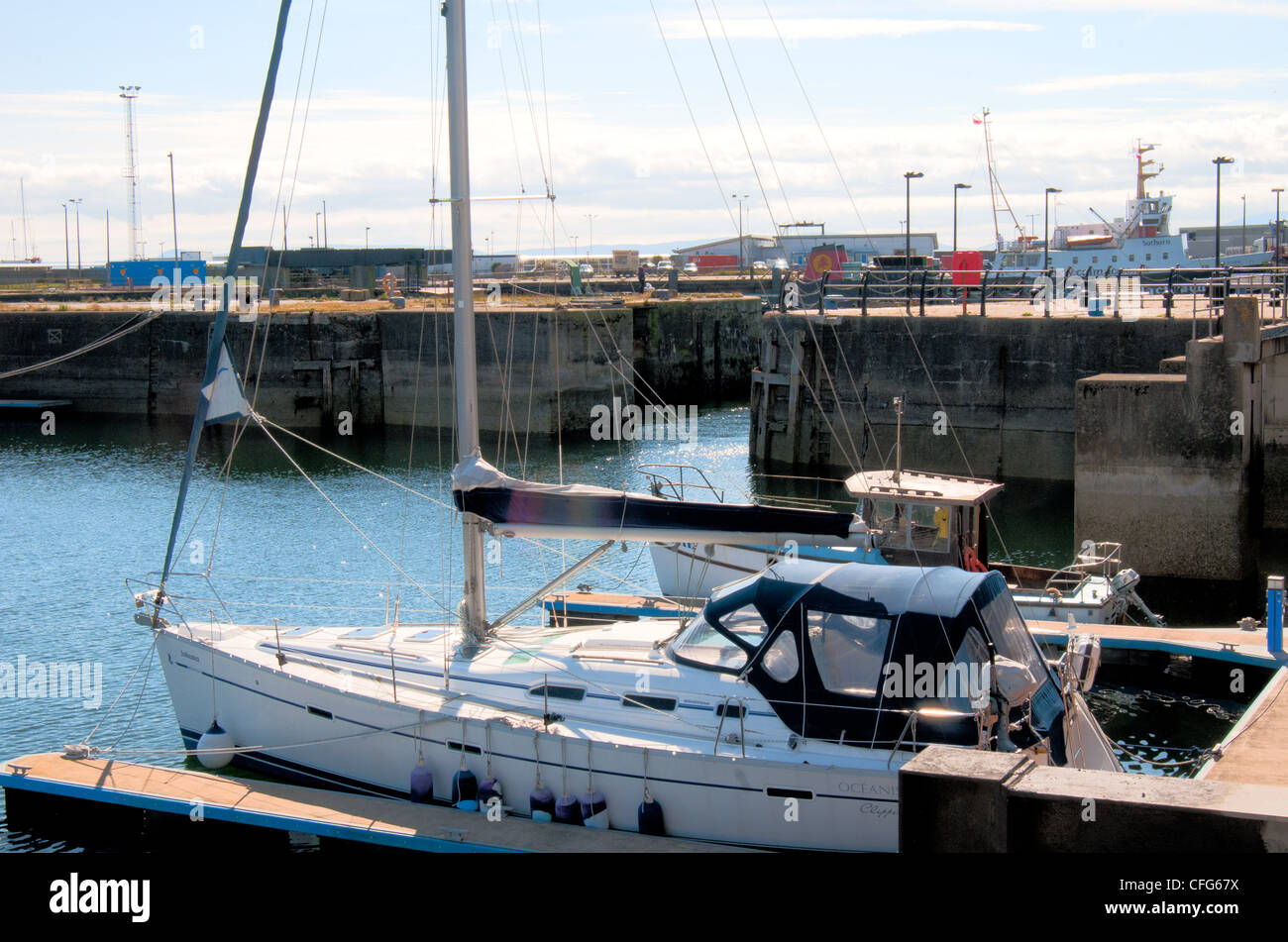 ardrossan north ayrshire harbour entrance - Stock Image