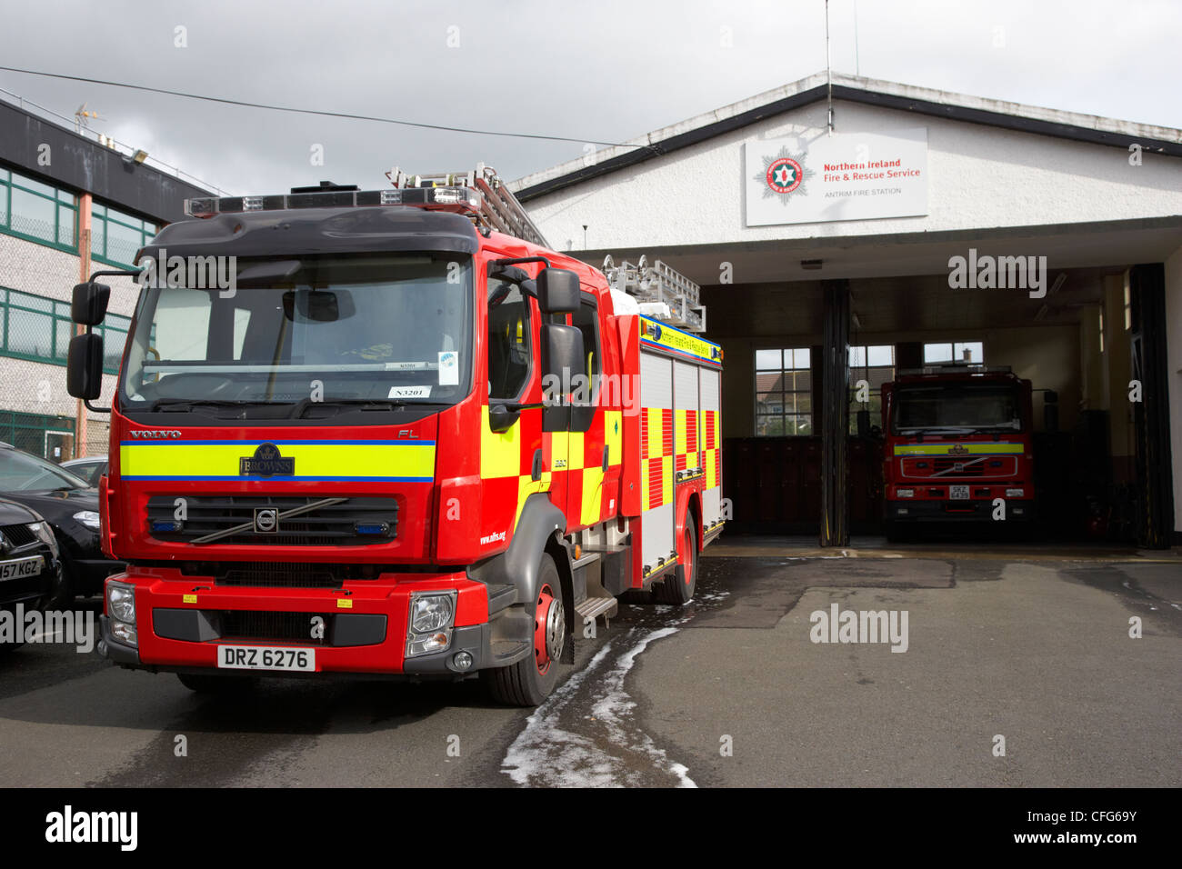 Northern Ireland Fire and Rescue Service NIFRS fire engine at antrim town fire station county antrim northern ireland - Stock Image