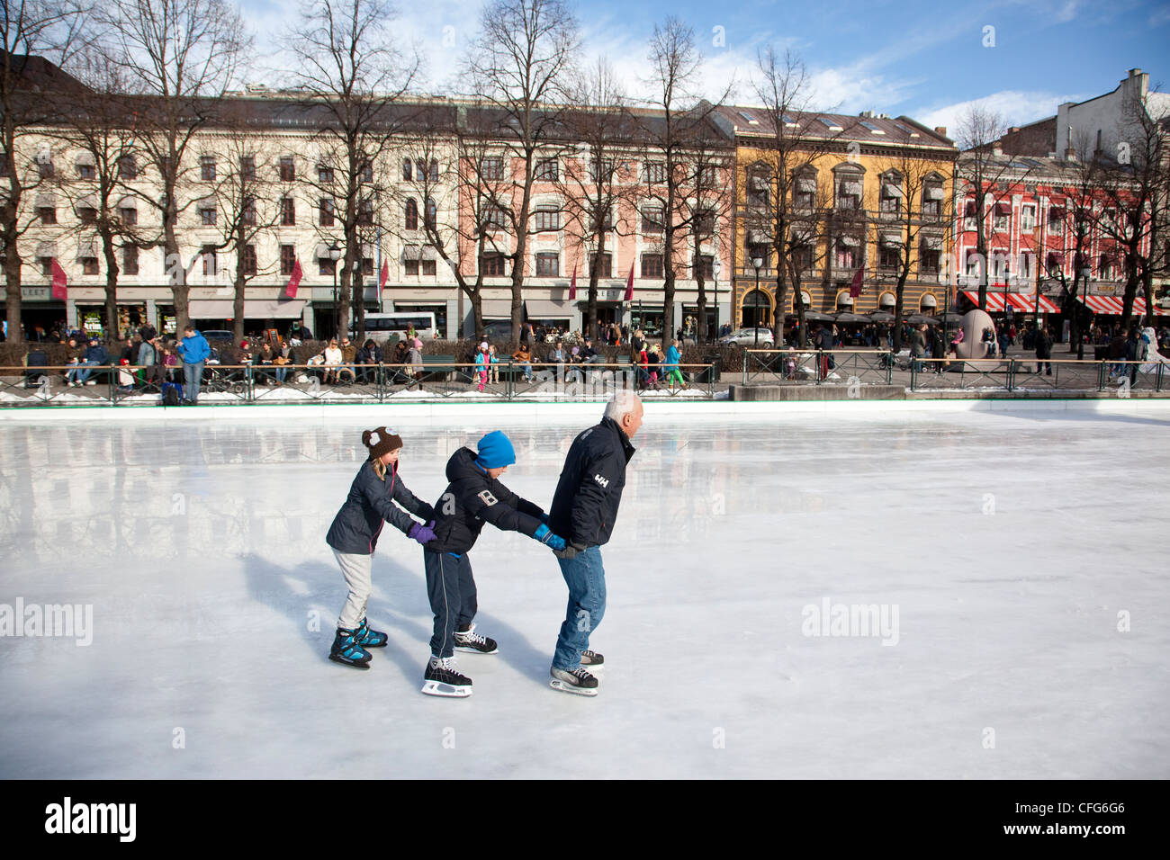 Spikersuppa Skating Rink, at Eidsvolls plass, central Oslo, Norway - Stock Image