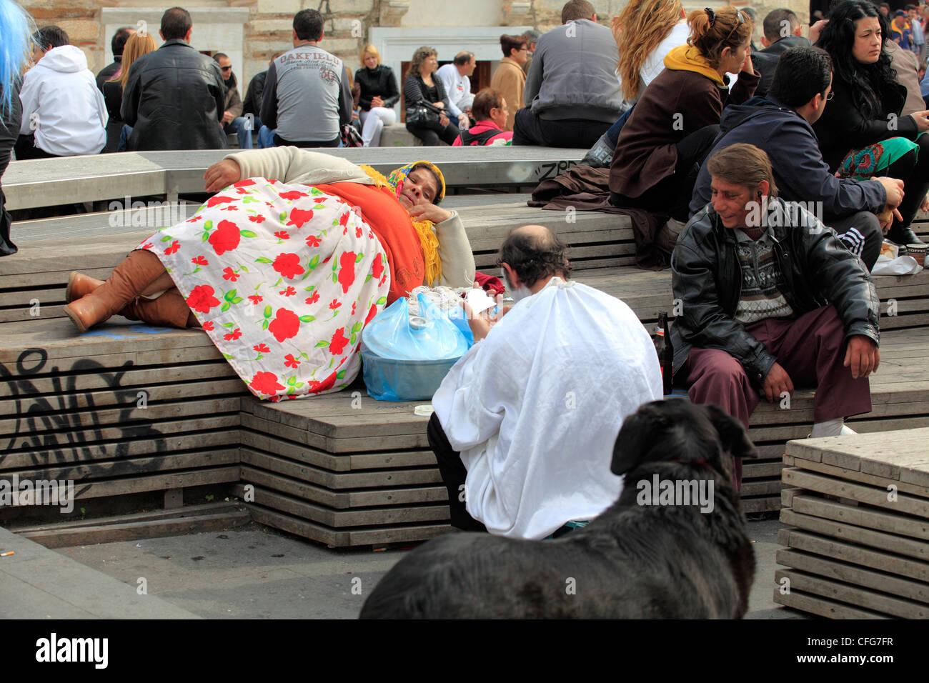 greece athens monastiraki some gipsies in the square - Stock Image