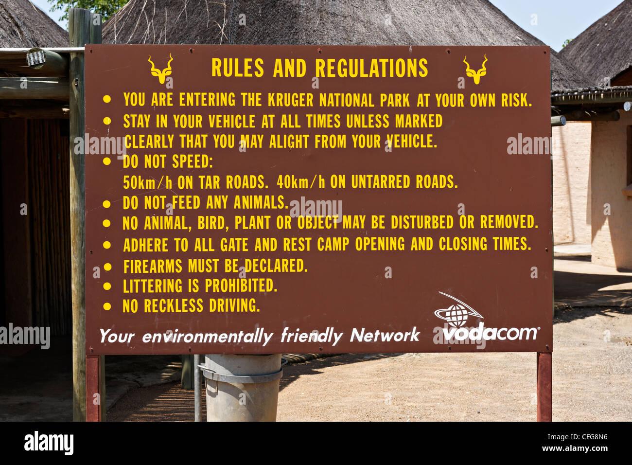 Kruger Park rules and regulations notice board, Kruger National Park, South Africa - Stock Image