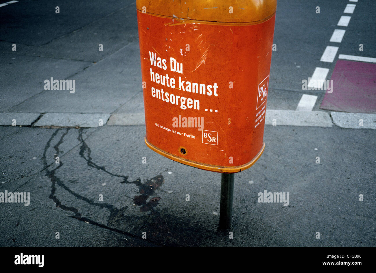 Litter bin in a street in Berlin. Stock Photo