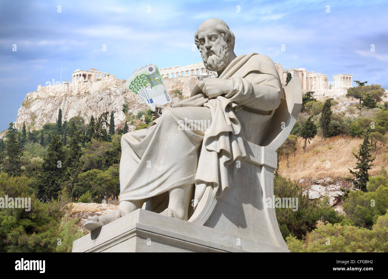 Crisis in Greece and bailout concept - Stock Image