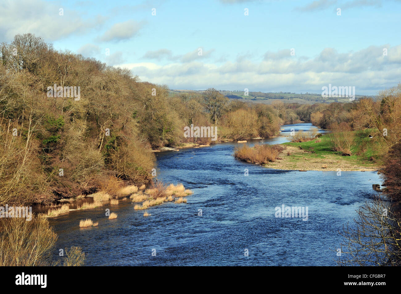 River Wye at Hay on Wye, the world famous Town of Books and the home of the Hay Festival. Photographed in early - Stock Image