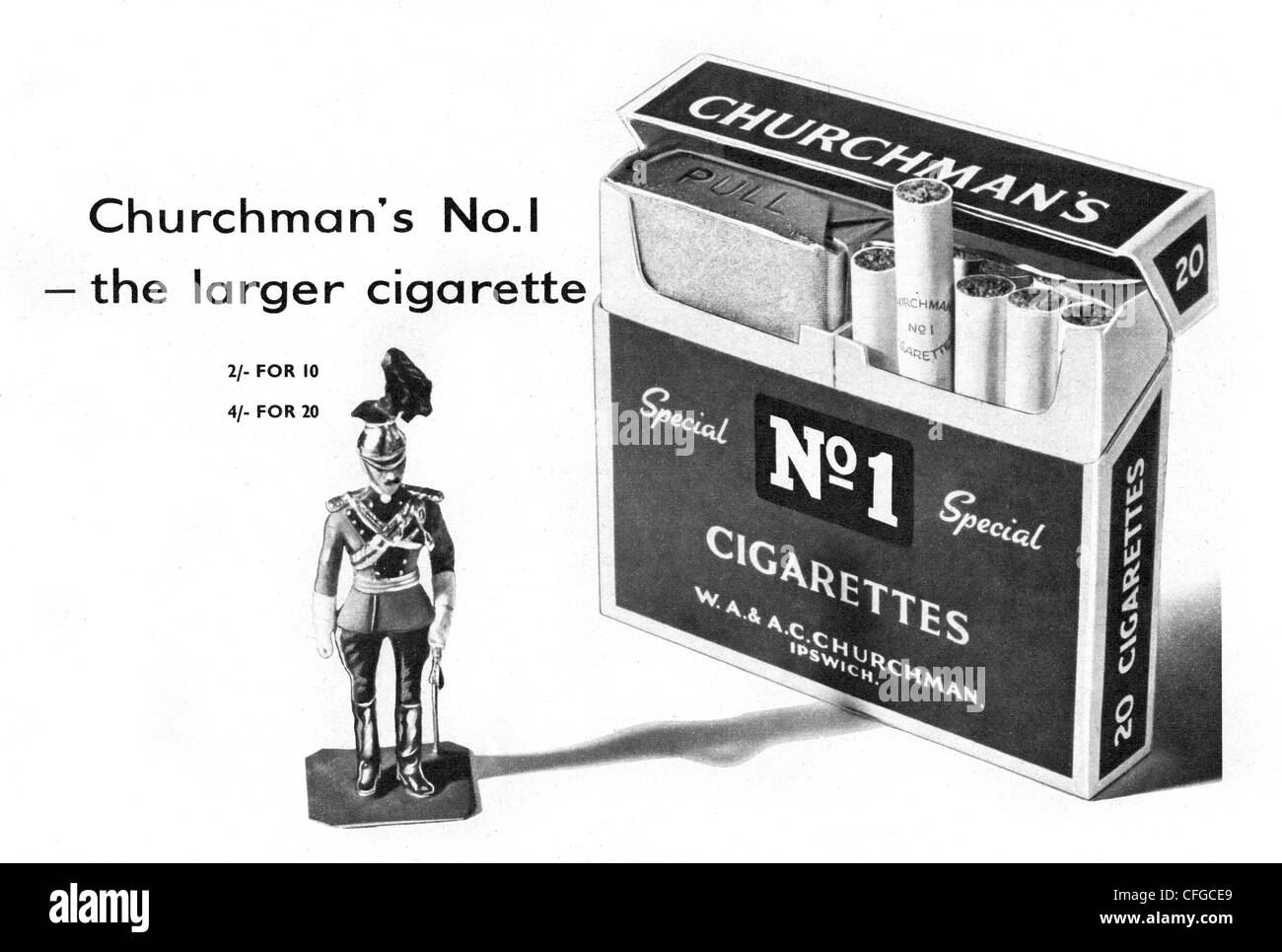 Churchmans No1 Special cigarettes advert from 1957 - Stock Image