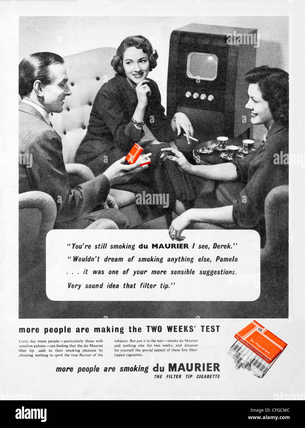 Du Maurier cigarettes advert from 1954 - Stock Image