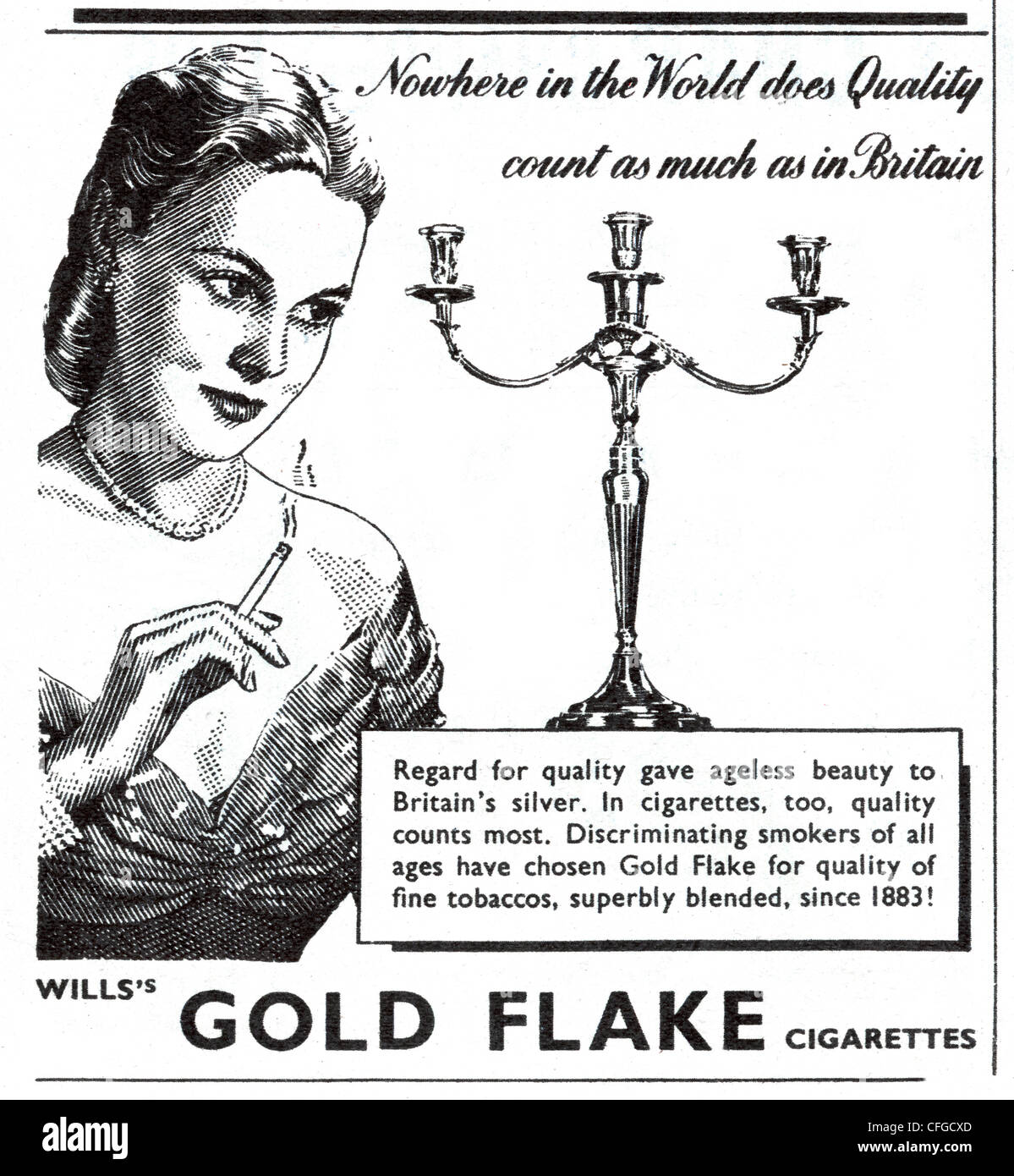 Gold Flake cigarettes advert from 1947 - Stock Image