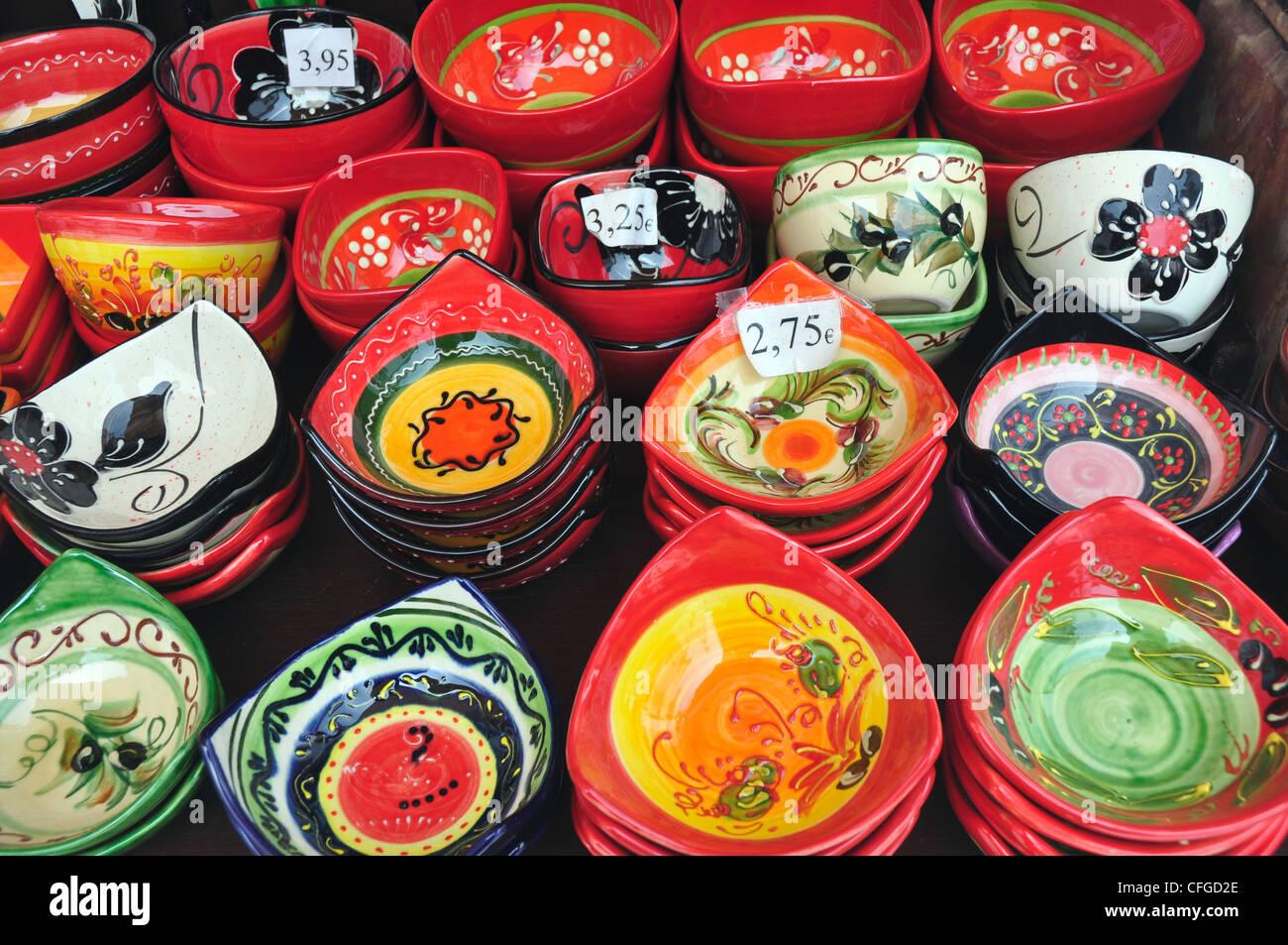 Spain Andalucia - Mijas - display of local ceramics