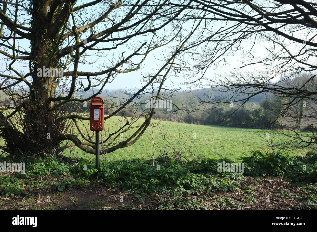 A postbox 2 miles from Falmouth, UK - Stock Image