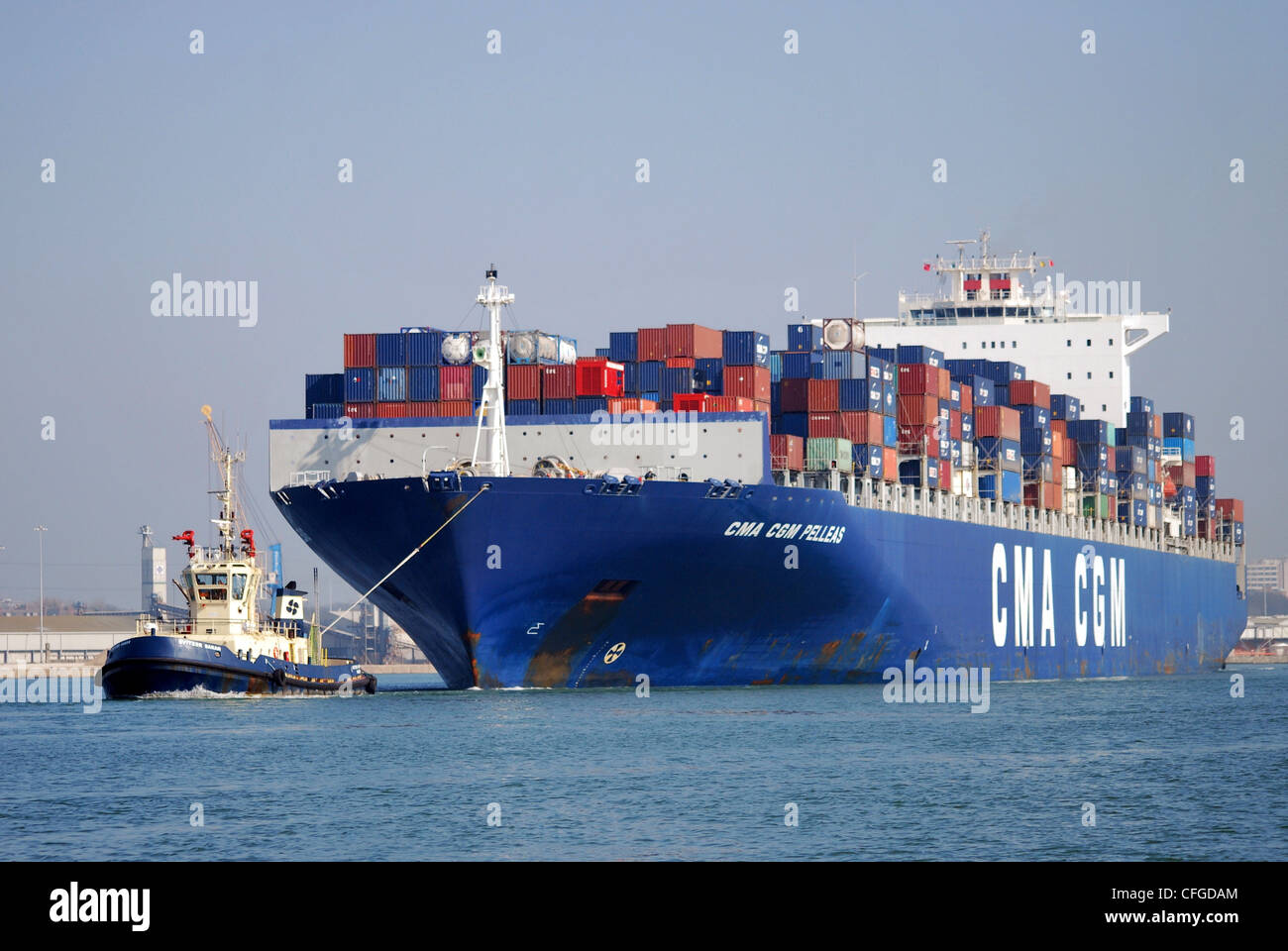 The Container Ship 'CMA CGM Pelleas' arrives at Southampton container terminal to unload containers from - Stock Image