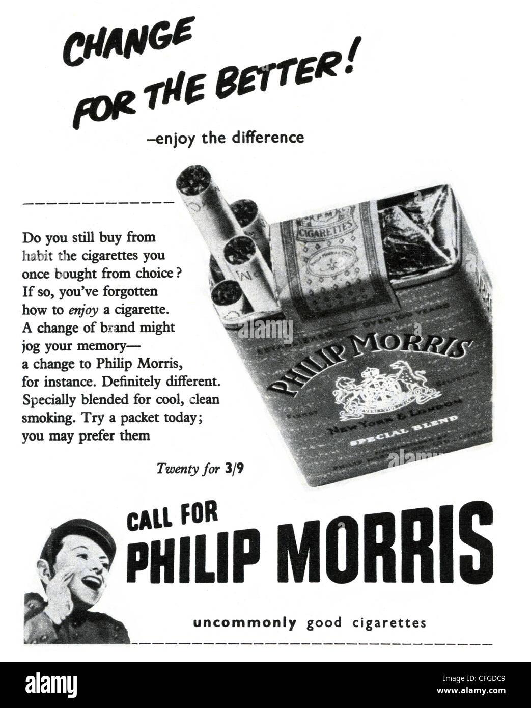 Philip Morris cigarette advert from 1953 - Stock Image
