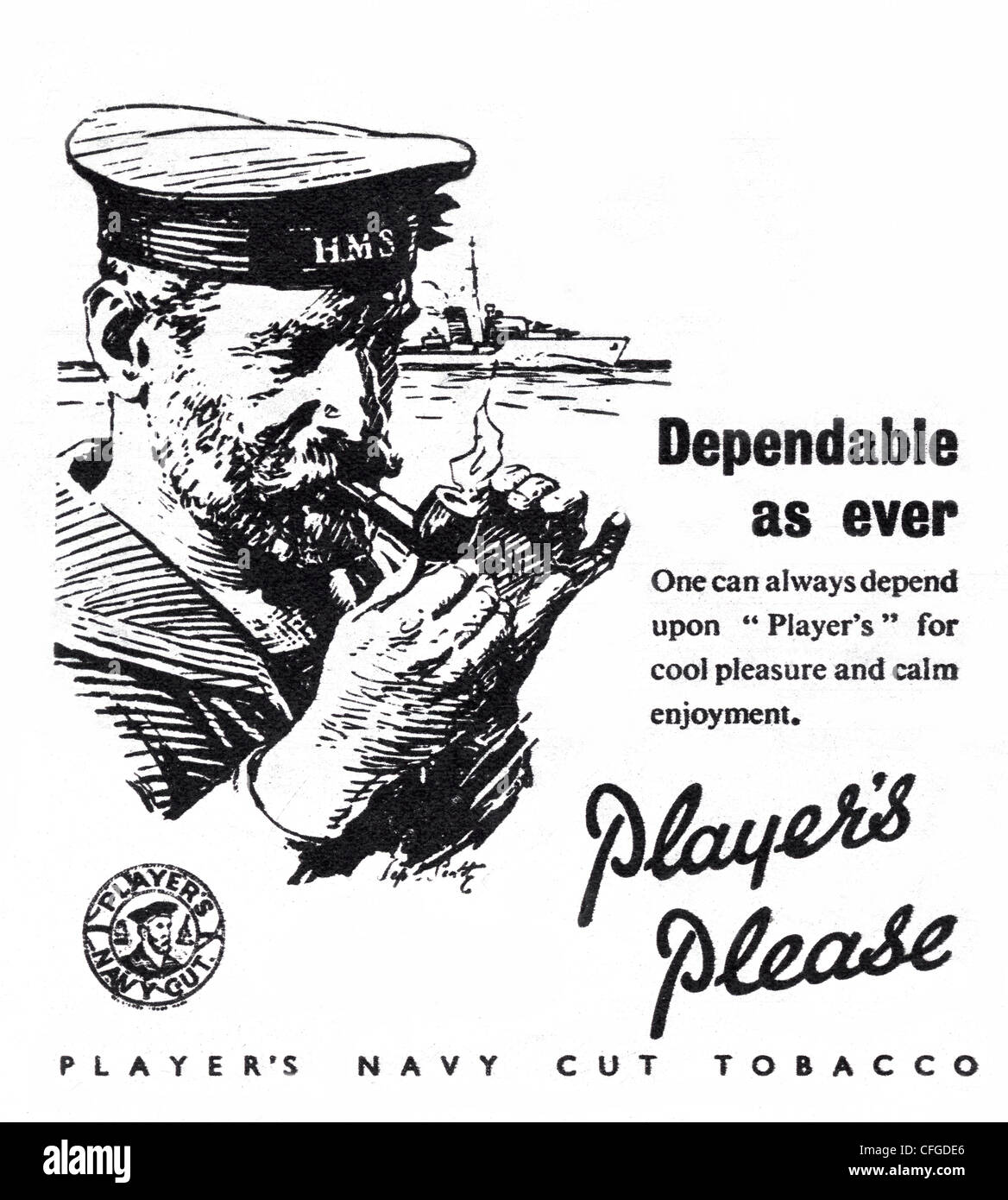 Players Airman Navy Cut tobacco advert from 1946 - Stock Image