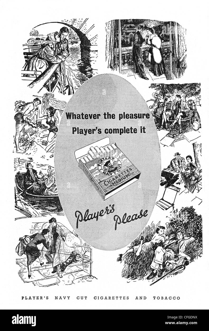 Players Navy Cut cigarettes advert from 1951 - Stock Image