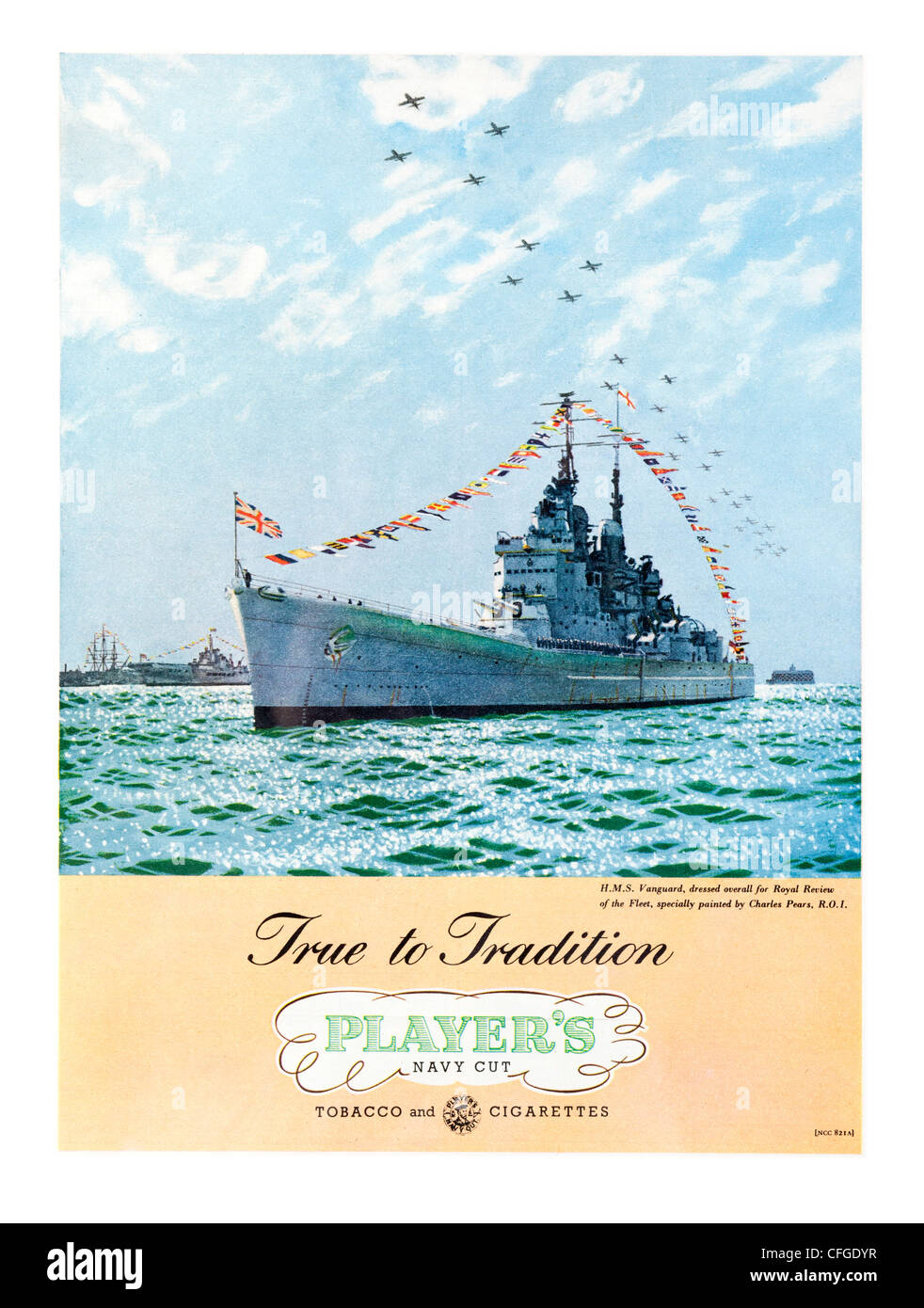Players Navy Cut cigarettes advert from 1953 - Stock Image