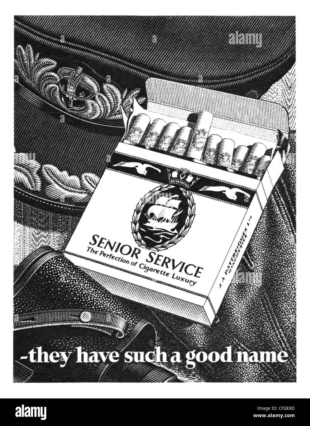 Senior Service cigarettes advert from 1952 - Stock Image