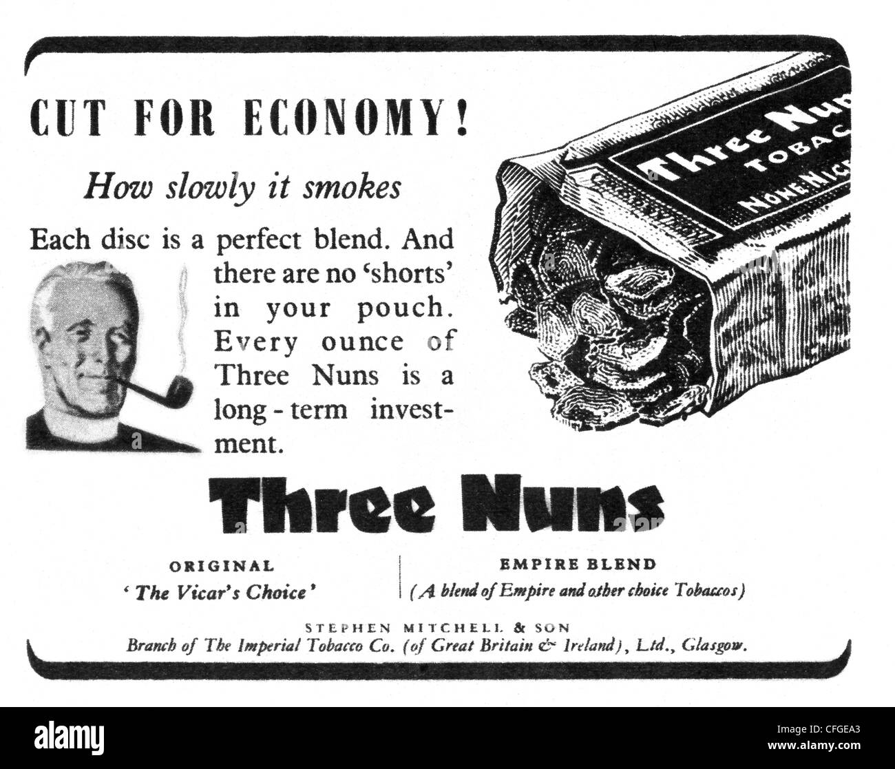 Three Nuns tobacco advert from 1947 - Stock Image