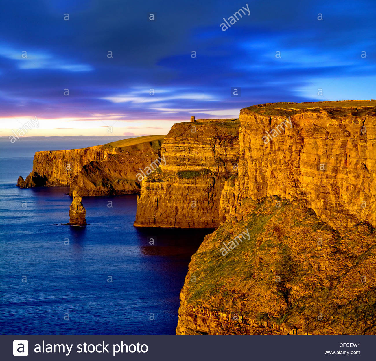 Cliffs of Moher on the West Coast of Ireland - Stock Image
