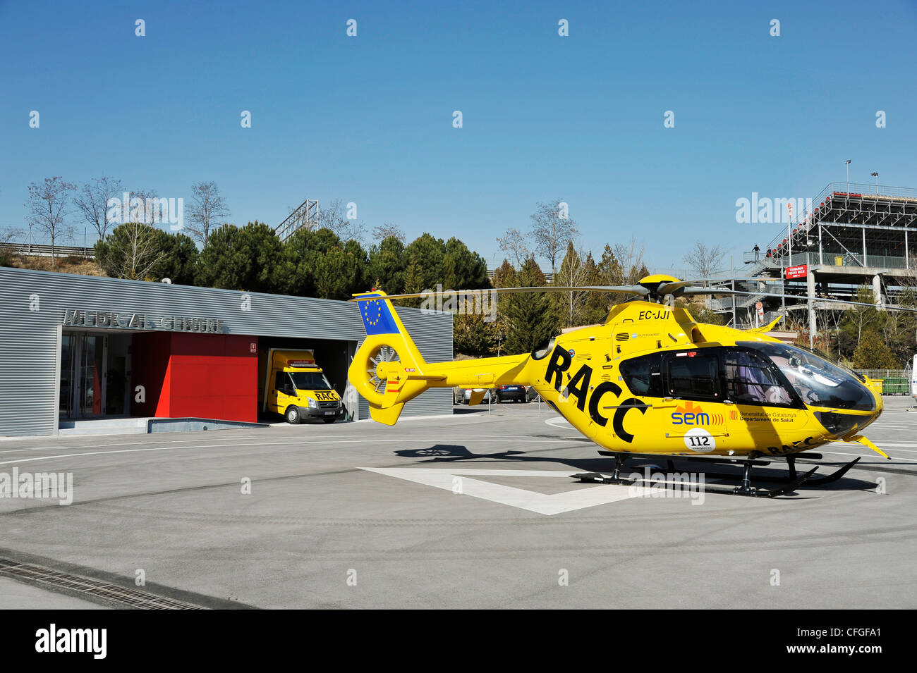 race track hospital of Circuit de Catalunya in Spain with helicopter and ambulance Stock Photo