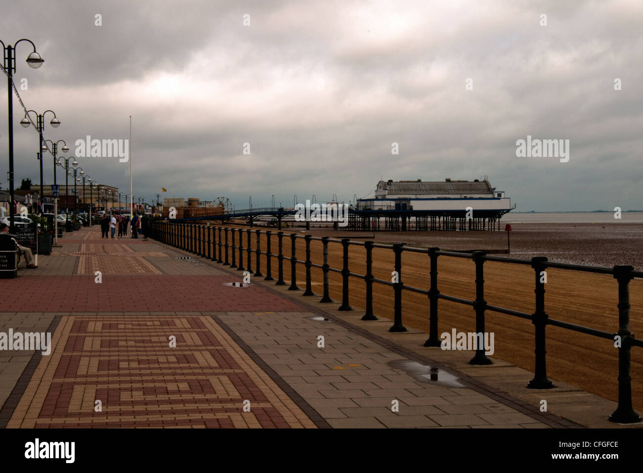 lincolnshire cleethorpes pier early morning along the promenade - Stock Image