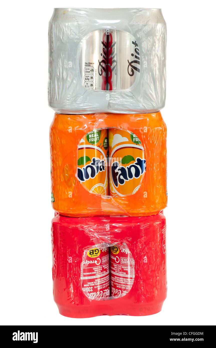 Packs Of Cans Of Carbonated soft Fizzy Drinks - Stock Image