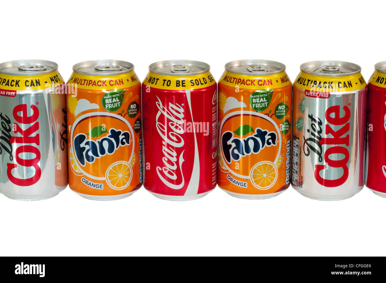 Cans Of Carbonated Fizzy Soft Drinks - Stock Image
