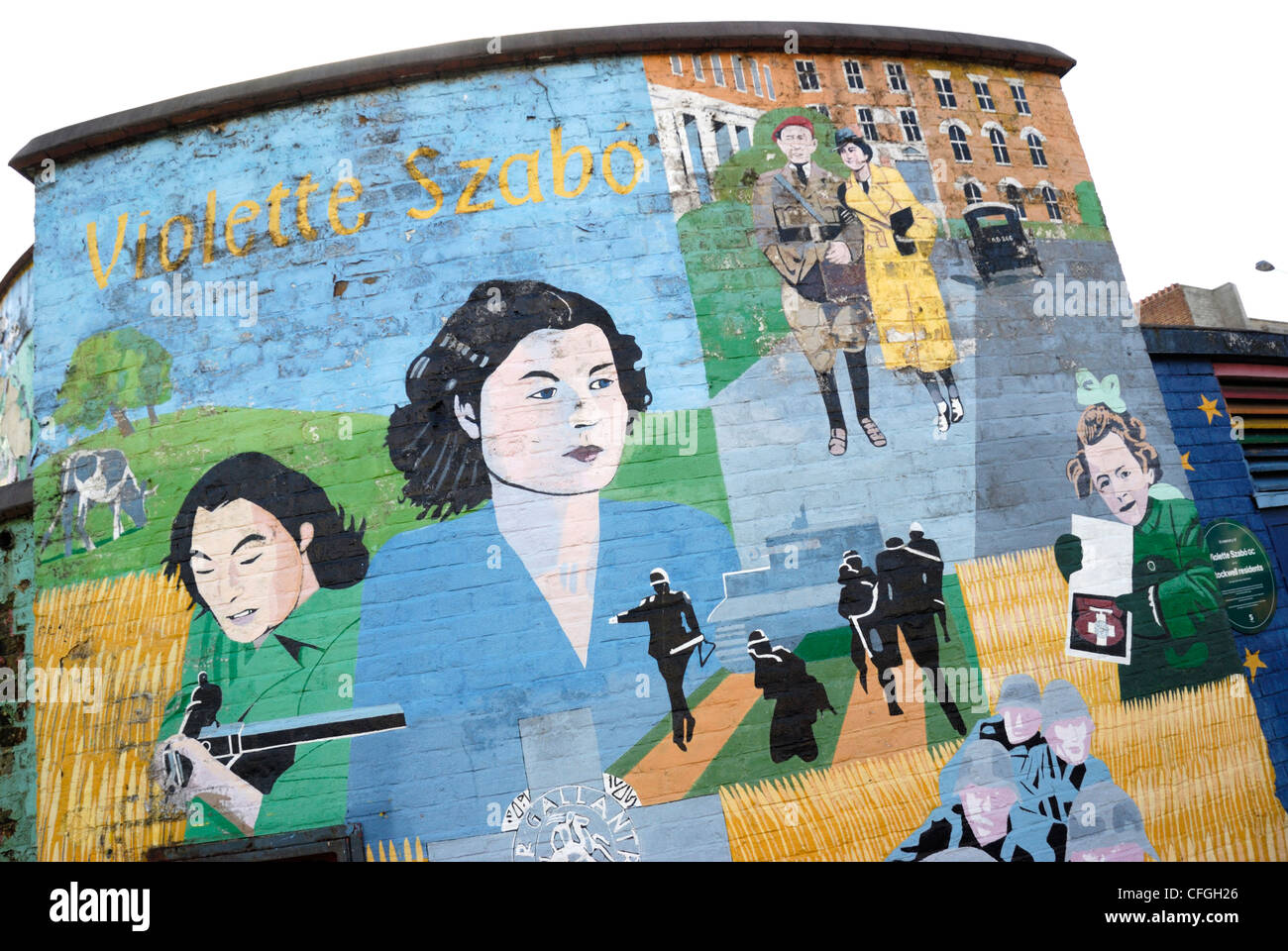 Mural commemorating the Second World War French-British secret agent Violette Szabo, Stockwell, London, England - Stock Image