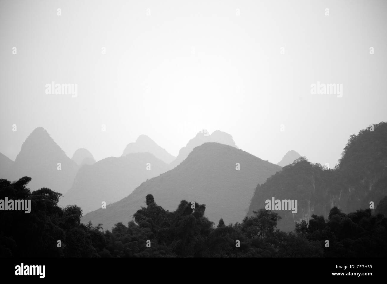 Karst mountains in Yangshuo, rural China Stock Photo