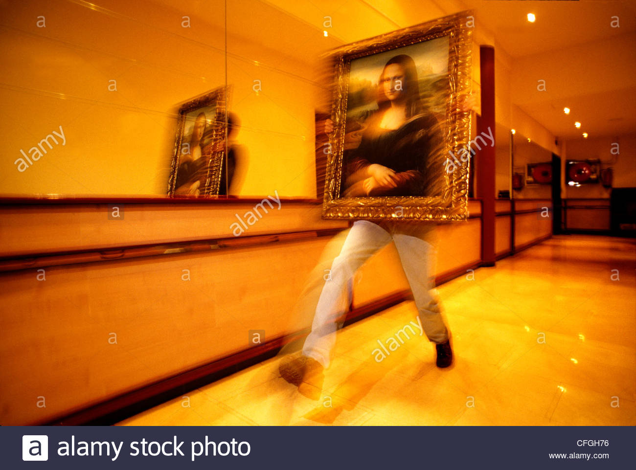 A replica of 'Mona Lisa,' is moved at the now defunct Imaginary Museum. - Stock Image