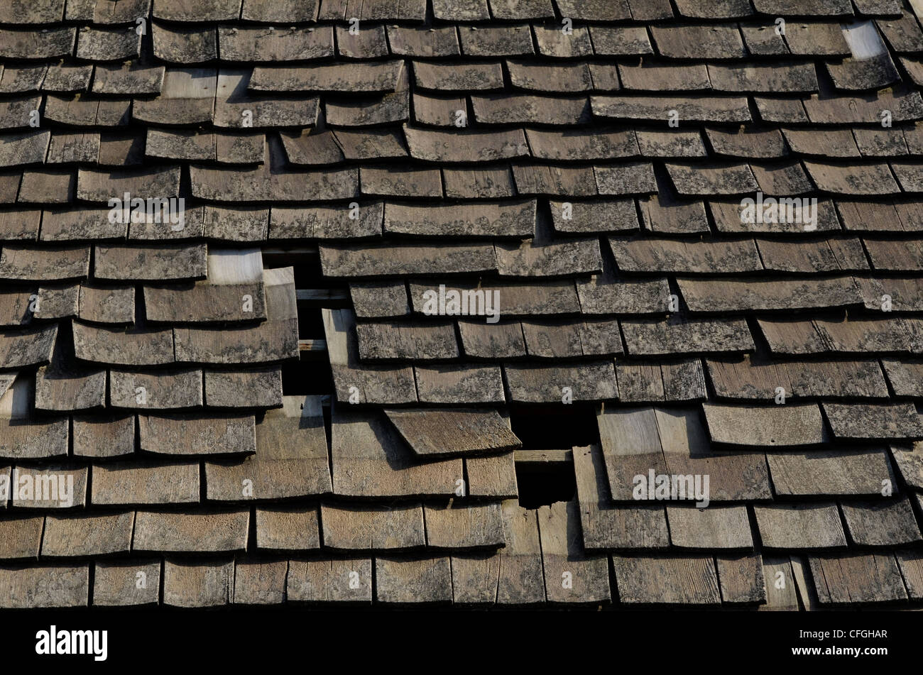 Decaying wood shingle roof. Damaged wood texture, wooden structure. [FOCUS POINT note in Description.] Possible - Stock Image