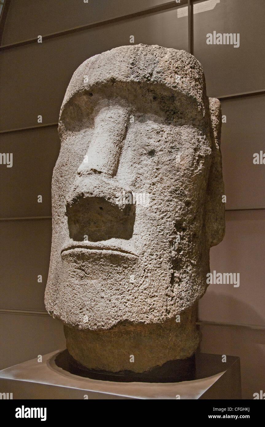Head Fragment moai Basaltic tuff Anakena Bay Easter Island 11– 15 century - Stock Image