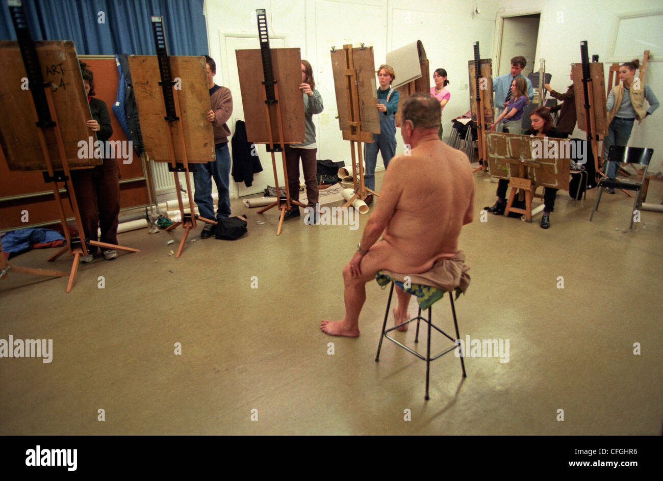 Nude painting model