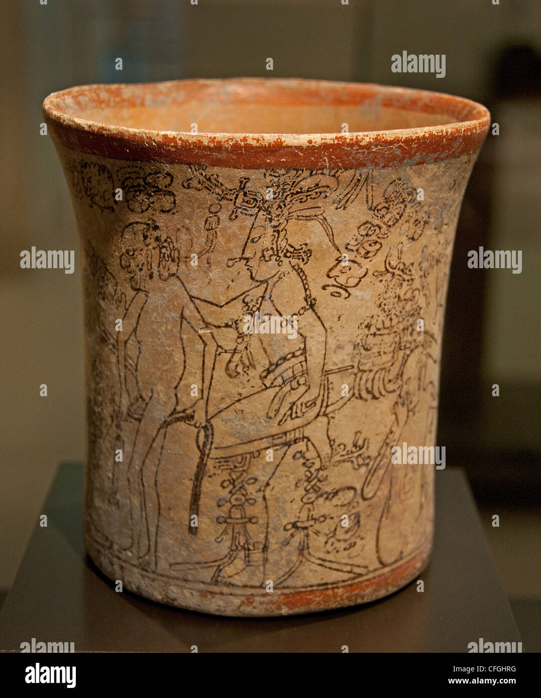 Maya vase codex style lord underworld stripped clothes headgear young Maize divinity midget Terracotta Petén - Stock Image