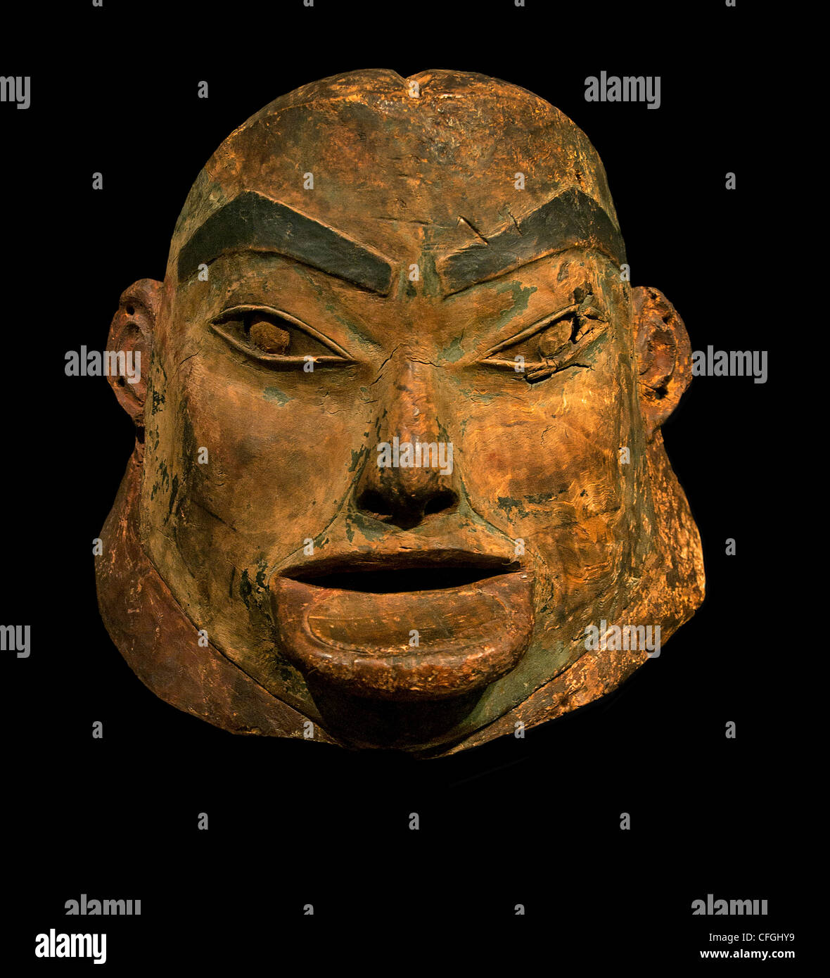 Mask Tlingit carving  19 first half century South East Alaska Pacific Northwest Coast Koloshi American America United - Stock Image