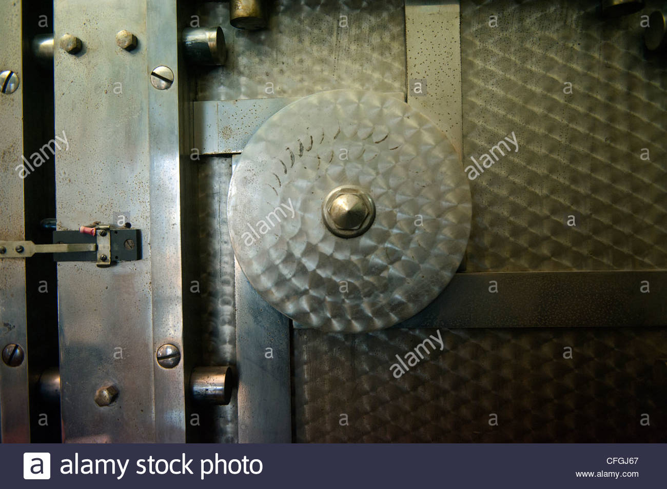 Close up of an antique vault at a bank in Talmage, Nebraska. - Stock Image